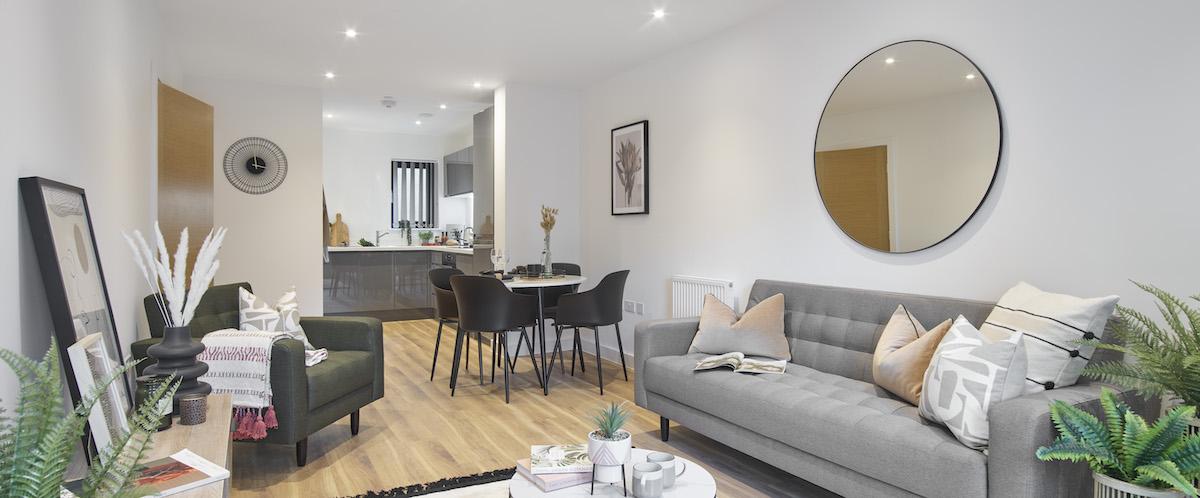 Open plan lounge/kitchen, BTR scheme, Ilford