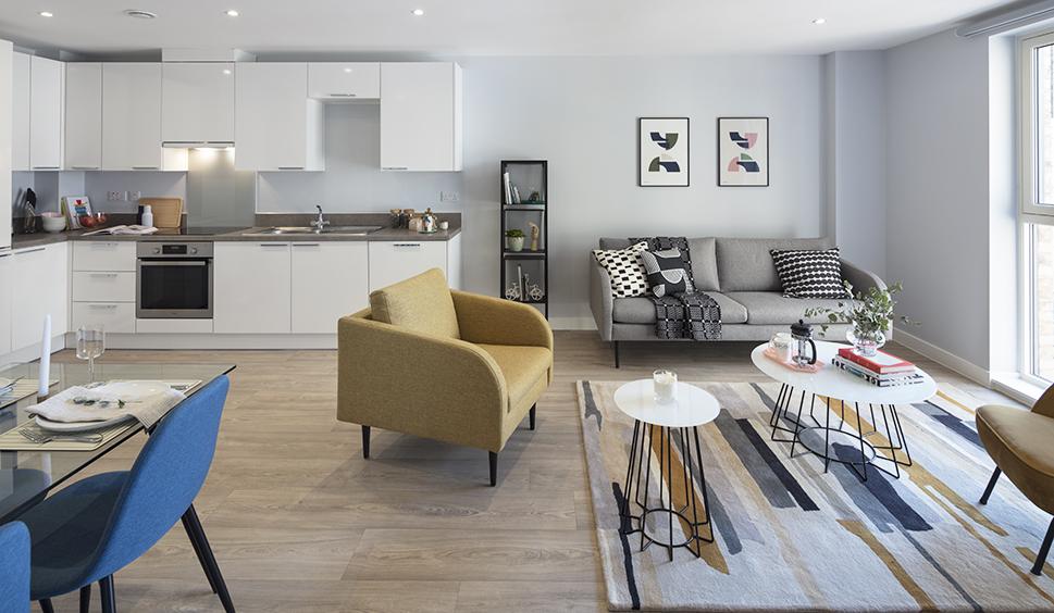 Open plan living, Clippers Quay BTR scheme