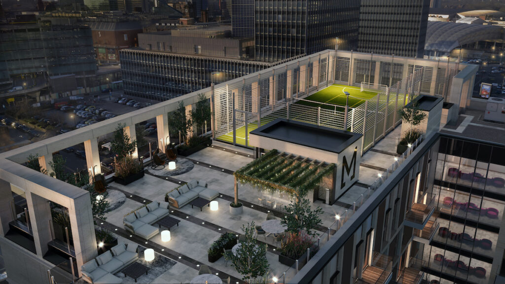 Rooftop BBQ terrace and sports pitch, Angel Gardens