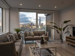 Apartment lounge with views of London at Park Central West Build to Rent scheme - Lendlease | CCP Investments | BTR News